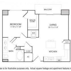 The Sovereign at Regent Square Apartments 1 bedroom, 753ft² floorplan