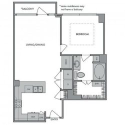 Hanover Montrose Houston Apartments 1 bedroom, 754ft² Floorplan