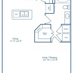 Camden City Center Houston Apartments Studio, 755ft² Floorplan