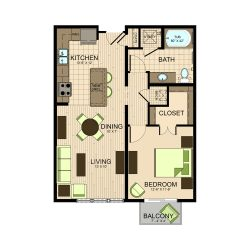 The Susanne Houston Montrose Apartments 1 bedroom, 755ft² floorplan
