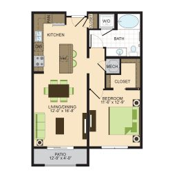 2900 West Dallas Houston Apartment 1 bedroom, 755ft² floorplan