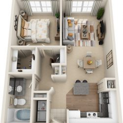 Estates at Memorial Heights Houston Apartments 1 bedroom, 756ft² Floorplan