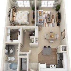 Estates at Memorial Heights Houston Apartments 1 bedroom, 756ft² Floorplan