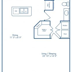 Camden City Center Houston Apartments Studio, 774ft² Floorplan