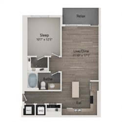 Catalyst Downtown Houston Apartment 1 bedroom, 776ft² Floorplan