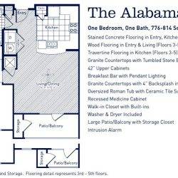 The Westheimer Houston Apartments 1 bedroom, 781-814ft² floorplan