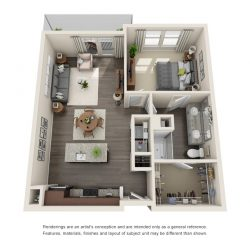 Jefferon Heights Houston Montrose Apartments 1 bedroom, 792ft² floorplan