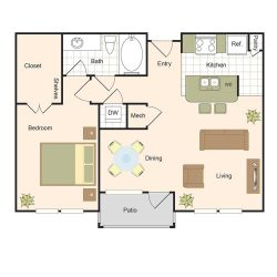 Jackson Hill Houston Apartments 1 bedroom, 792ft² Floorplan