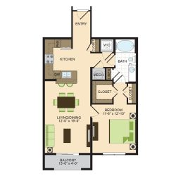 2900 West Dallas Houston Apartment 1 bedroom, 793ft² floorplan