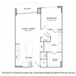 The Sovereign at Regent Square Apartments 1 bedroom, 793ft² floorplan