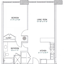 City View Lofts Houston Apartments 1 Bedroom, 801ft² Floorplan