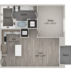 Catalyst Downtown Houston Apartment 1 bedroom, 806ft² Floorplan