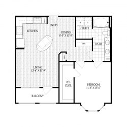 Fairmont Museum District Houston Apartments 1 bedroom, 807ft² Floorplan