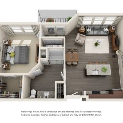 Jefferon Heights Houston Montrose Apartments 1 bedroom, 808ft² floorplan