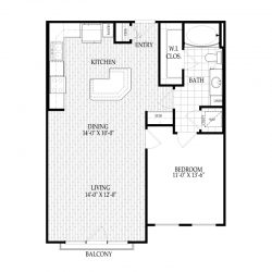 Fairmont Museum District Houston Apartments 1 bedroom, 810ft² Floorplan