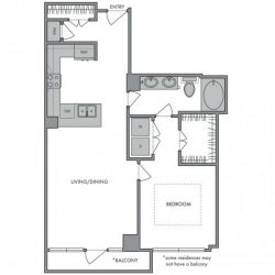 Hanover Montrose Houston Apartments 1 bedroom, 817ft² Floorplan