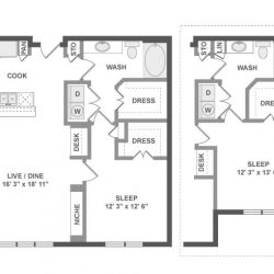 AMLI River Oaks Houston Montrose Apartments 1 bedroom, 824ft² floorplan