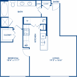 Camden City Center Houston Apartments 1 Bedroom, 824ft² Floorplan