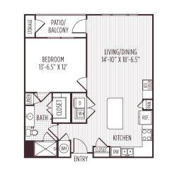 Ashton West Dallas Montrose Houston Apartments 1 bedroom, 826ft² floorplan