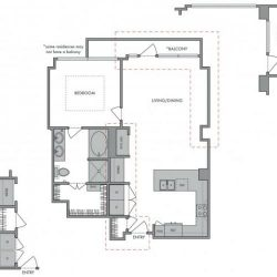 Hanover Montrose Houston Apartments 1 bedroom, 838ft² Floorplan