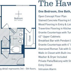 The Westheimer Houston Apartments 1 bedroom, 842ft² floorplan
