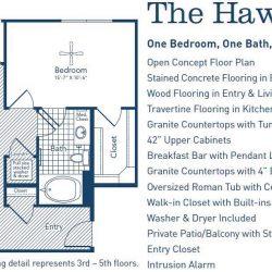 The Westheimer Houston Apartments 1 bedroom, 842ft² floorplan