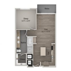 Catalyst Downtown Houston Apartment 1 bedroom, 827ft² Floorplan