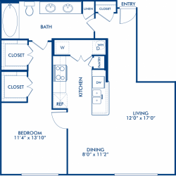 Camden City Center Houston Apartments 1 Bedroom, 843ft² Floorplan