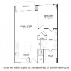 The Sovereign at Regent Square Apartments 1 bedroom, 845ft² floorplan