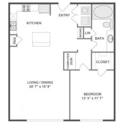 AMLI City Vista Houston Montrose Apartments 1 bedroom, 846ft² floorplan