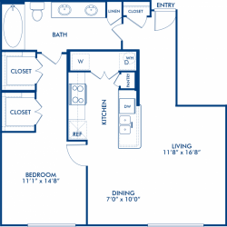 Camden City Center Houston Apartments 1 Bedroom, 855ft² Floorplan