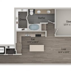 Catalyst Downtown Houston Apartment 1 bedroom, 862ft² Floorplan