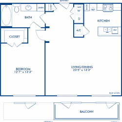 Camden City Center Houston Apartments 1 Bedroom, 865ft² Floorplan