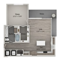 Catalyst Downtown Houston Apartment 1 bedroom, 869ft² Floorplan