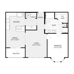 Fairmont Museum District Houston Apartments 1 bedroom, 872ft² Floorplan