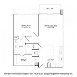 The Sovereign at Regent Square Apartments 1 bedroom, 877ft² floorplan