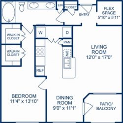 Camden City Center Houston Apartments 1 Bedroom, 879ft² Floorplan