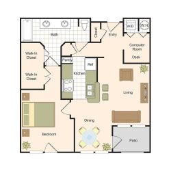 Jackson Hill Houston Apartments 1 bedroom, 887ft² Floorplan