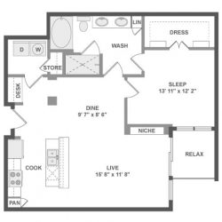 AMLI River Oaks Houston Montrose Apartments 1 bedroom, 894ft² floorplan