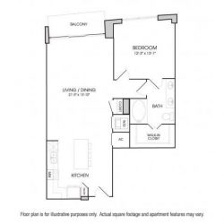 The Sovereign at Regent Square Apartments 1 bedroom, 895ft² floorplan