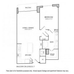 The Sovereign at Regent Square Apartments 1 bedroom, 902ft² floorplan