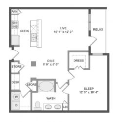 AMLI River Oaks Houston Montrose Apartments 1 bedroom, 908ft² floorplan