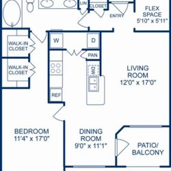 Camden City Center Houston Apartments 1 Bedroom, 911ft² Floorplan