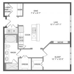 AMLI River Oaks Houston Montrose Apartments 1 bedroom, 914-946ft² floorplan