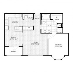 Fairmont Museum District Houston Apartments 1 bedroom, 919ft² Floorplan
