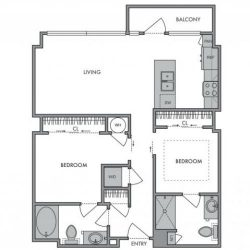 Hanover Montrose Houston Apartments 2 bedroom, 919ft² Floorplan