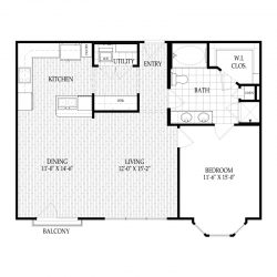 Fairmont Museum District Houston Apartments 1 bedroom, 933ft² Floorplan