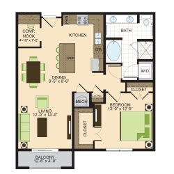 2900 West Dallas Houston Apartment 1 bedroom, 941ft² floorplan