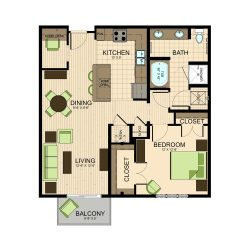 The Susanne Houston Montrose Apartments 1 bedroom, 941ft² floorplan