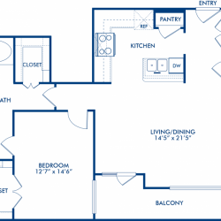 Camden City Center Houston Apartments 1 Bedroom, 944ft² Floorplan